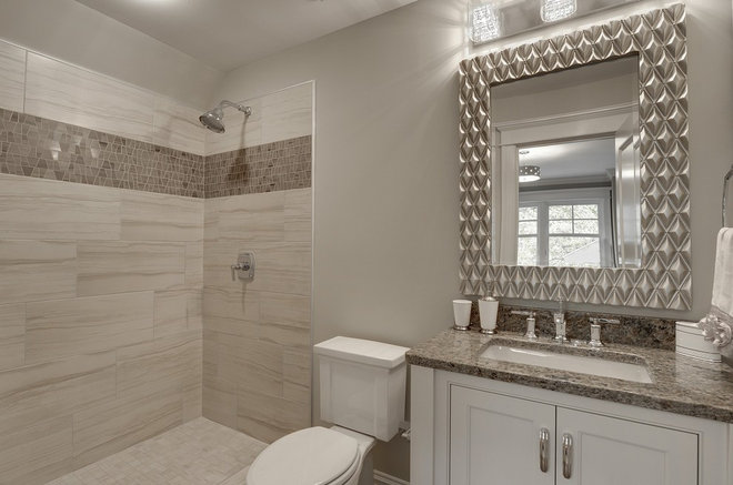 Transitional Bathroom by TC Homebuilders Inc