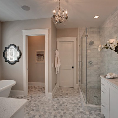 Inspiration for a timeless gray floor toilet room remodel in Minneapolis with an undermount sink