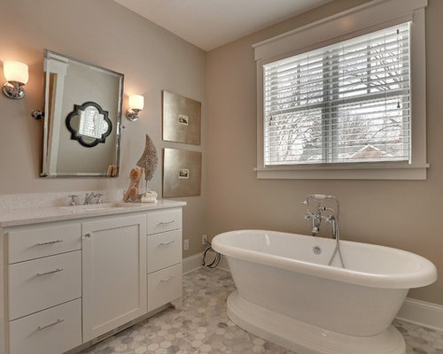 Elegant White Tile Freestanding Bathtub Photo In Minneapolis With An  Undermount Sink, Shaker Cabinets And