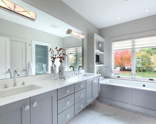 Inspiration For A Mid Sized Transitional Master Porcelain Tile Floor Bathroom Remodel In Grand