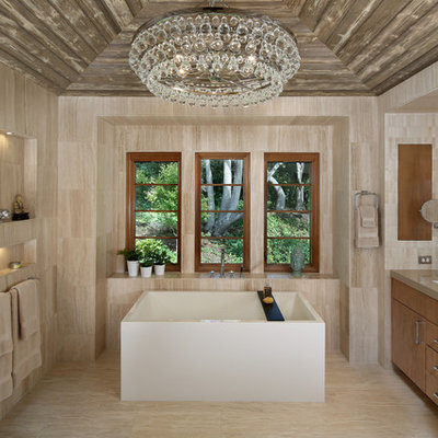 Freestanding bathtub - large contemporary master beige tile and porcelain tile porcelain tile and beige floor freestanding bathtub idea in San Francisco with an undermount sink, flat-panel cabinets, medium tone wood cabinets, beige walls and quartz countertops