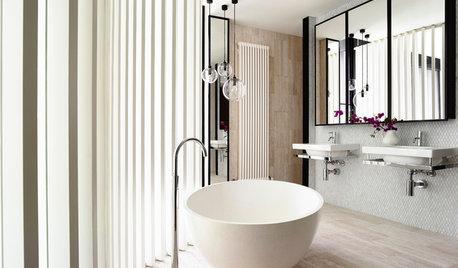 Les courbes adoucissent la salle de bains