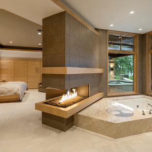 Bathroom - large contemporary master porcelain floor bathroom idea in Minneapolis with a hot tub