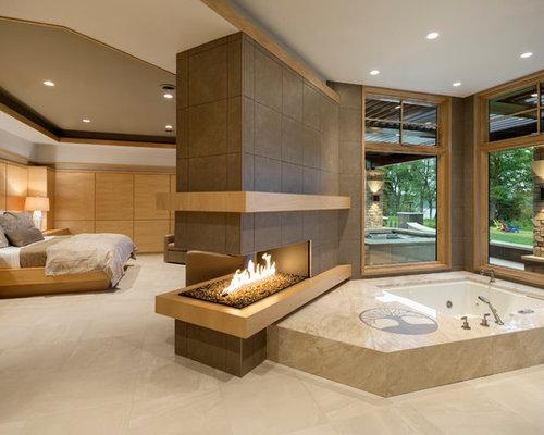 Großes Modernes Badezimmer En Suite Mit Porzellan Bodenfliesen Und Whirlpool  In Minneapolis