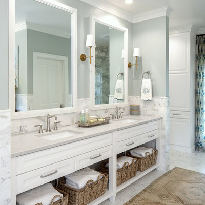 Inspiration for a mid-sized timeless master white tile and marble tile marble floor bathroom remodel in Austin with open cabinets, white cabinets, gray walls, an undermount sink and gray countertops