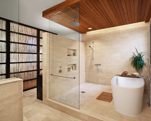 Inspiration For A Large Contemporary Master Stone Tile Travertine Floor And  Beige Floor Bathroom Remodel In