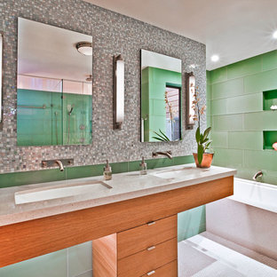 Bathroom - mid-sized contemporary master green tile and porcelain tile mosaic tile floor bathroom idea in San Francisco with an undermount sink, flat-panel cabinets, medium tone wood cabinets, marble countertops, an undermount tub and gray countertops