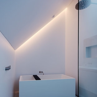Example of a minimalist white floor bathroom design in San Francisco with white walls