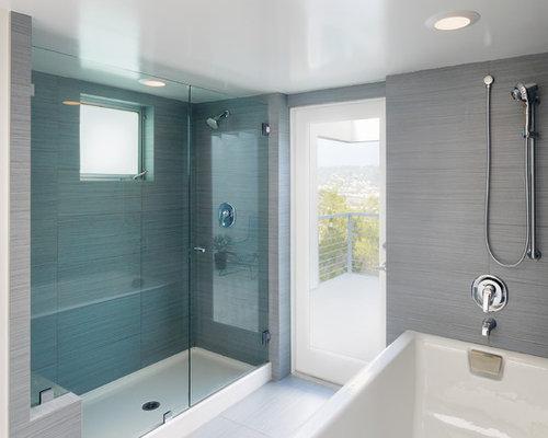 Contemporary Gray Tile Alcove Shower Idea In Los Angeles