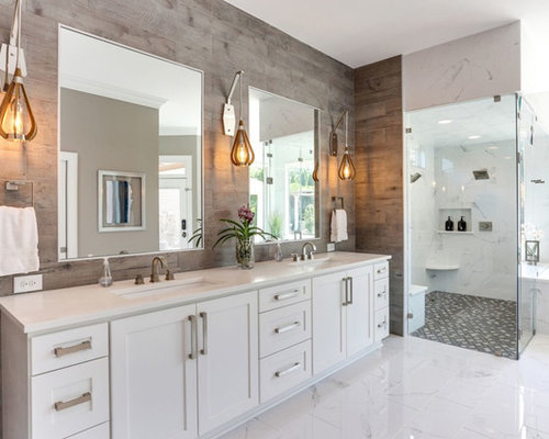 Contemporary Master White Tile White Floor Wet Room Idea In Other With  Shaker Cabinets, White