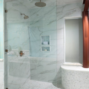 Inspiration for a contemporary mosaic tile walk-in shower remodel in Wilmington