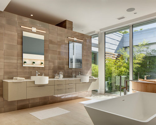 Large contemporary master ceramic tile and brown porcelain floor  beige japanese bathtub idea 30 Best Brown Tile Bathroom Ideas Remodeling Photos Houzz
