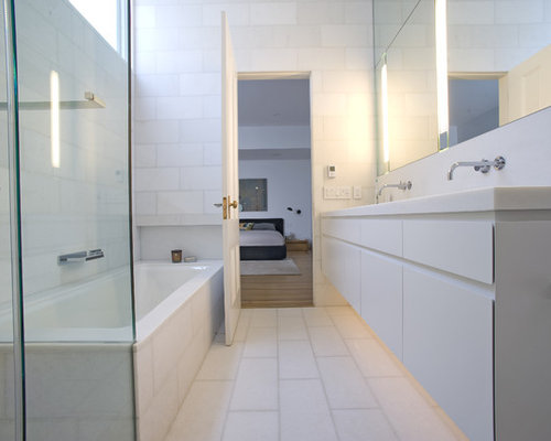 Inspiration For A Contemporary White Tile White Floor Alcove Bathtub  Remodel In San Francisco With Flat