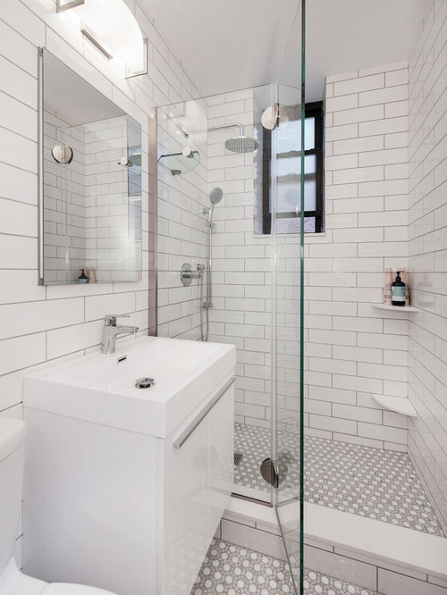 Inspiration For A Contemporary White Tile Mosaic Tile Floor And White Floor  Alcove Shower Remodel In