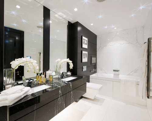 Bathroom Designs Black And White Tiles black and white bathroom | houzz