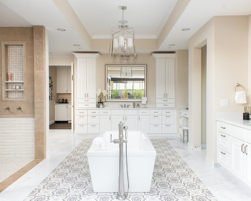 example of an eclectic master cement tile floor and multicolored floor bathroom design in phoenix with - Luxury Master Bathroom