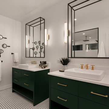 3D MIrrors with Green Vanities and Gold Hardware