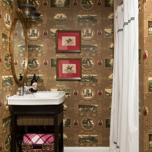 Eclectic 3/4 beige floor bathroom photo in Minneapolis with open cabinets, brown walls and white countertops