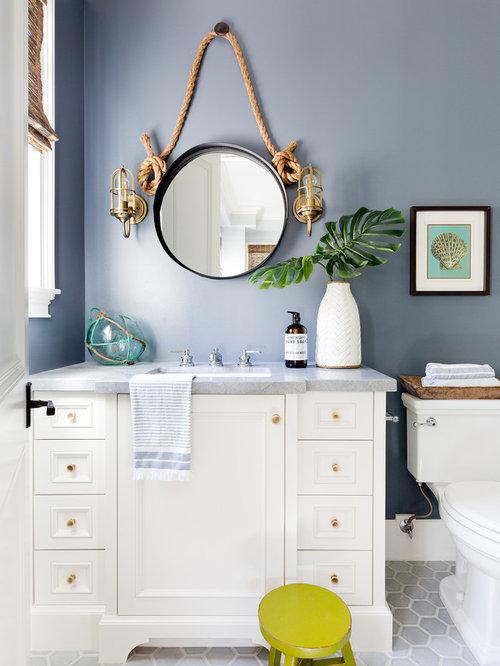 example of a coastal 34 gray tile gray floor bathroom design in los angeles