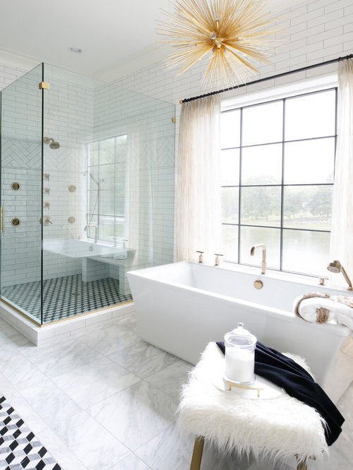 beach style bathroom. Example Of A Coastal Master White Tile Gray Floor Bathroom Design In Nashville With Walls Beach Style