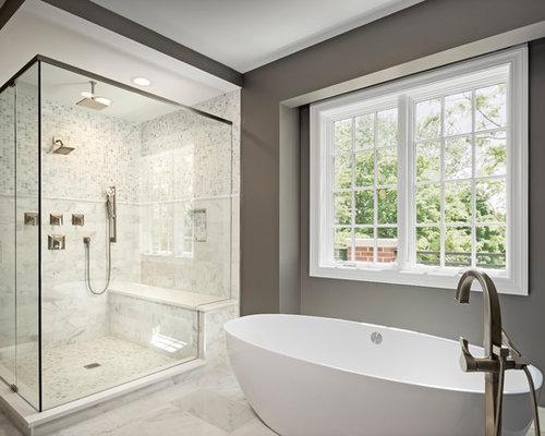 Bathroom design ideas renovations photos with beige for Grey and beige bathroom ideas