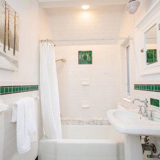75 Most Popular Ceramic Tile Bathroom With A Pedestal Sink Design - Black-and-white-bathroom-york-by-novabell