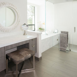 Inspiration For A Contemporary Master White Tile Gray Floor Corner Shower Remodel In San Francisco With