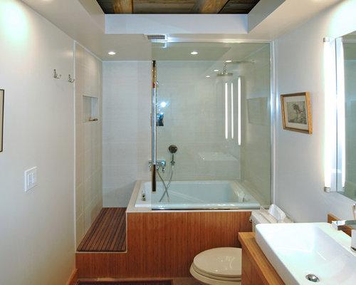 salle de bain avec un bain japonais et un combin douche. Black Bedroom Furniture Sets. Home Design Ideas