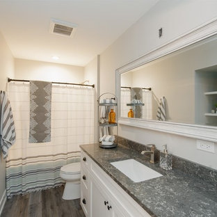 Mid-sized trendy gray tile and ceramic tile medium tone wood floor and gray floor bathroom photo in Milwaukee with shaker cabinets, white cabinets, a one-piece toilet, gray walls, an undermount sink, granite countertops and gray countertops