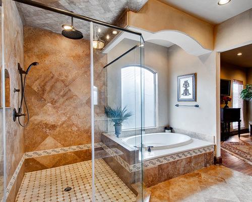 Garden tub with shower houzz for Bathroom garden tub decorating