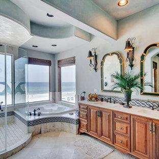 Example of a tuscan corner bathtub design in Miami