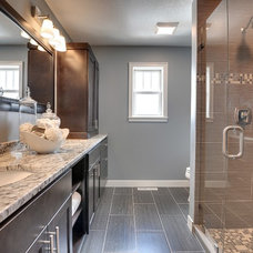 Transitional Bathroom by Sustainable Nine Design + Build