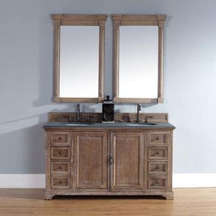 Bathroom - traditional light wood floor bathroom idea in San Diego with furniture-like cabinets, medium tone wood cabinets and gray walls