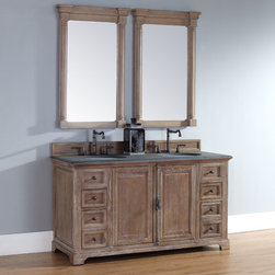60 Inch Providence Driftwood Grey Double Sink Vanity - Please note: Vanities are priced with no vanity top. Multiple vanity top options available.