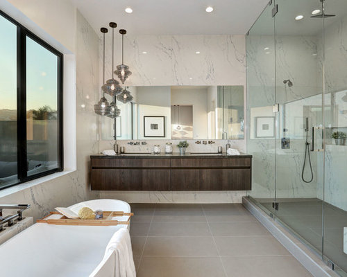 Example Of A Minimalist Master Gray Floor Bathroom Design In Los Angeles With Flat Panel