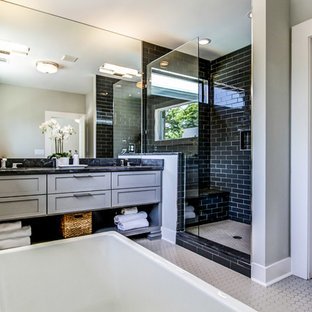 Design ideas for a classic bathroom in Atlanta with an open shower.