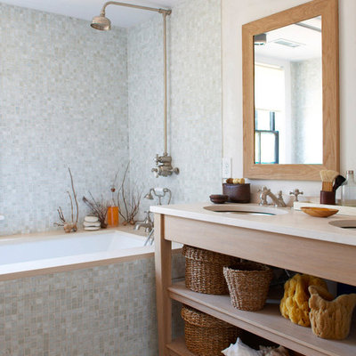 Inspiration for a coastal gray tile and mosaic tile bathroom remodel in New York