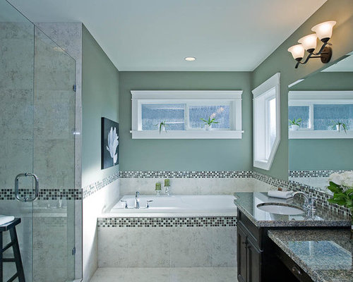 Example of a classic mosaic tile bathroom design in Vancouver with granite  countertops. Tile Border   Houzz