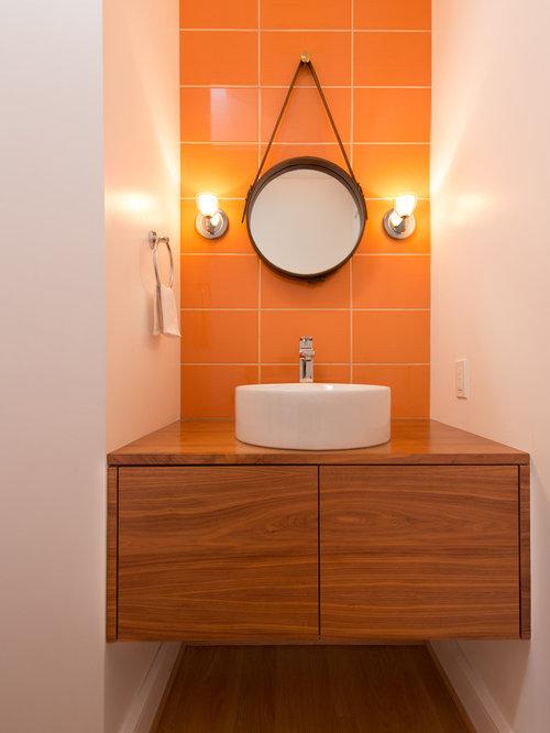 Orange Bathroom Design Ideas Remodels Photos With Light
