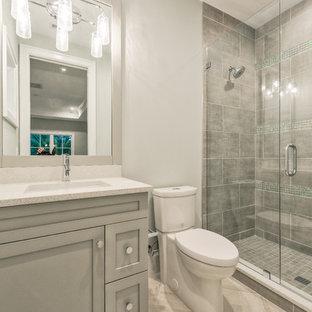 広いおしゃれな子供用バスルーム (落し込みパネル扉のキャビネット、グレーのキャビネット、オープン型シャワー、分離型トイレ、グレーのタイル、セメントタイル、グレーの壁、セラミックタイルの床、アンダーカウンター洗面器、ソープストーンの洗面台、グレーの床、開き戸のシャワー) の写真