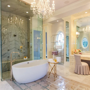 Design ideas for a mediterranean bathroom in Boston with a freestanding bath.