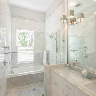 Inspiration for a farmhouse master gray tile, white tile and mosaic tile white floor bathroom remodel in DC Metro with shaker cabinets, white cabinets and an undermount sink