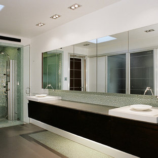 Bathroom - contemporary bathroom idea in San Diego with a vessel sink