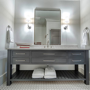 Photo of a classic bathroom in Birmingham with flat-panel cabinets and grey cabinets.
