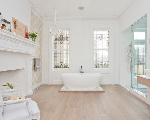 Example Of A Large Ornate Master Light Wood Floor Bathroom Design In New  York With A