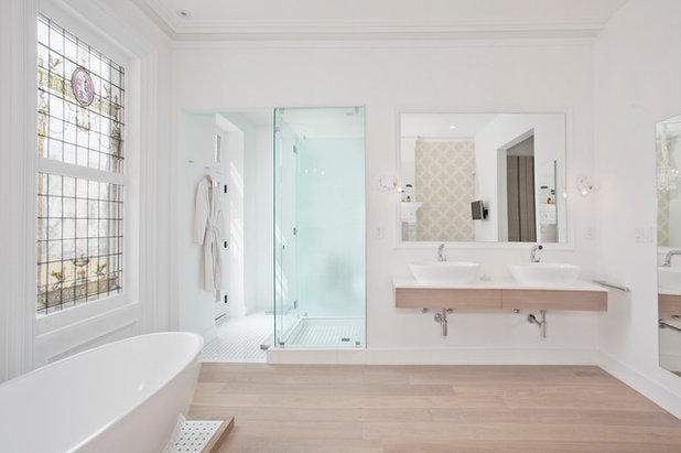 Transitional Bathroom by Jensen C. Vasil  Architect PC
