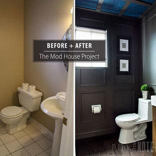 Ispirazione per una piccola stanza da bagno con doccia chic con lavabo integrato, nessun'anta, ante in legno scuro, top in superficie solida, WC monopezzo, pareti nere e parquet scuro