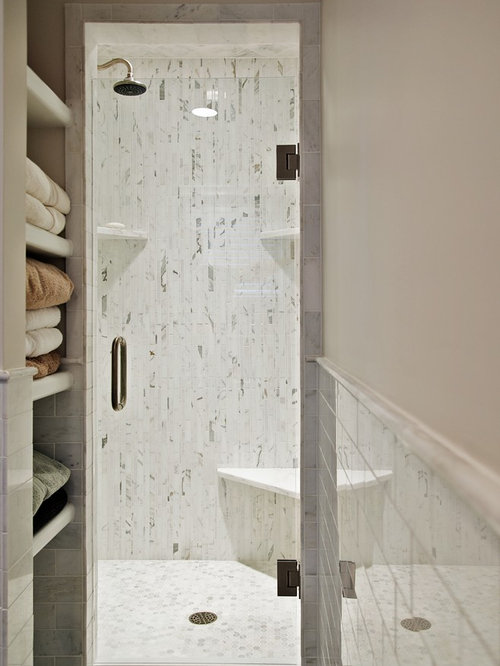 Small shower stall houzz for Bathroom ideas with quartz
