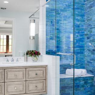 Idées déco de salle de bain en bleu et blanc : Photos et ...
