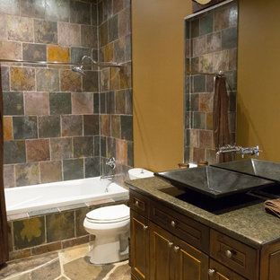 75 beautiful bathroom with slate and a shower curtain